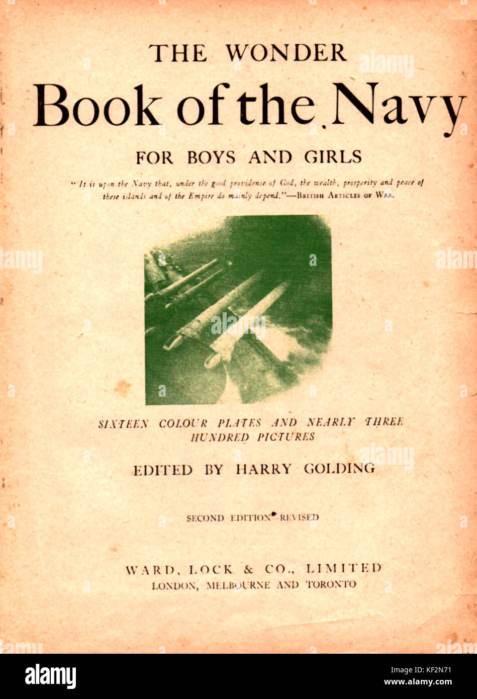 1919 Title Page of the British WWI naval book 'The Wonder Book of the Navy for Boys and Girls' Edited by - Stock Image