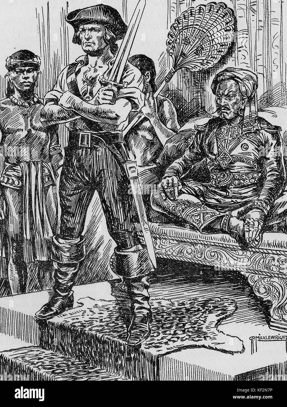 A romantic sketch of a pirate at the court of a fictional foreign leader (1932 image) - Stock Image