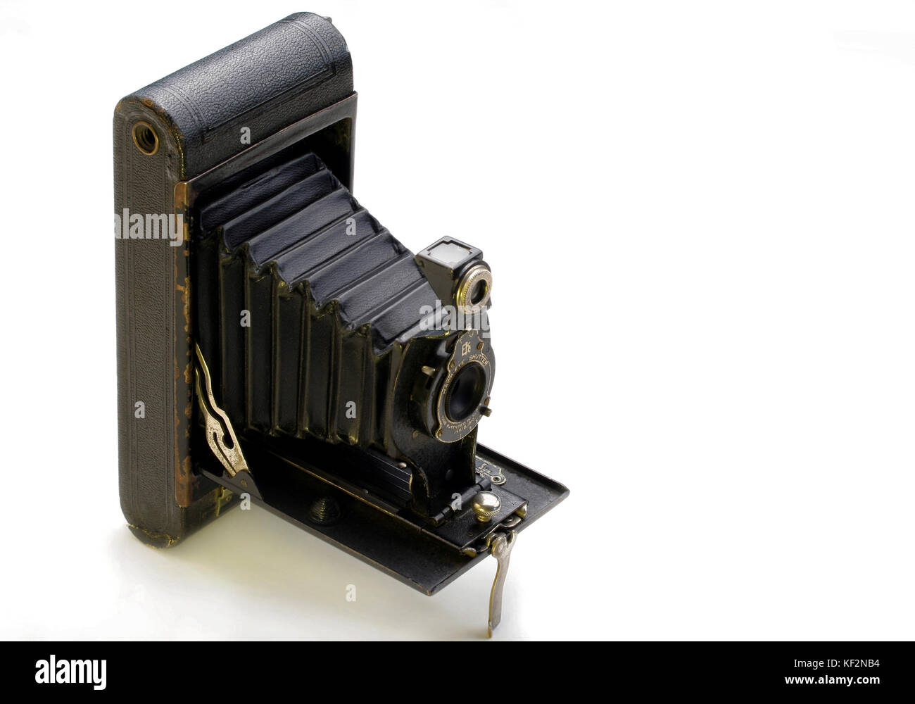 One vintage black box camera isolated on white with copy space. - Stock Image