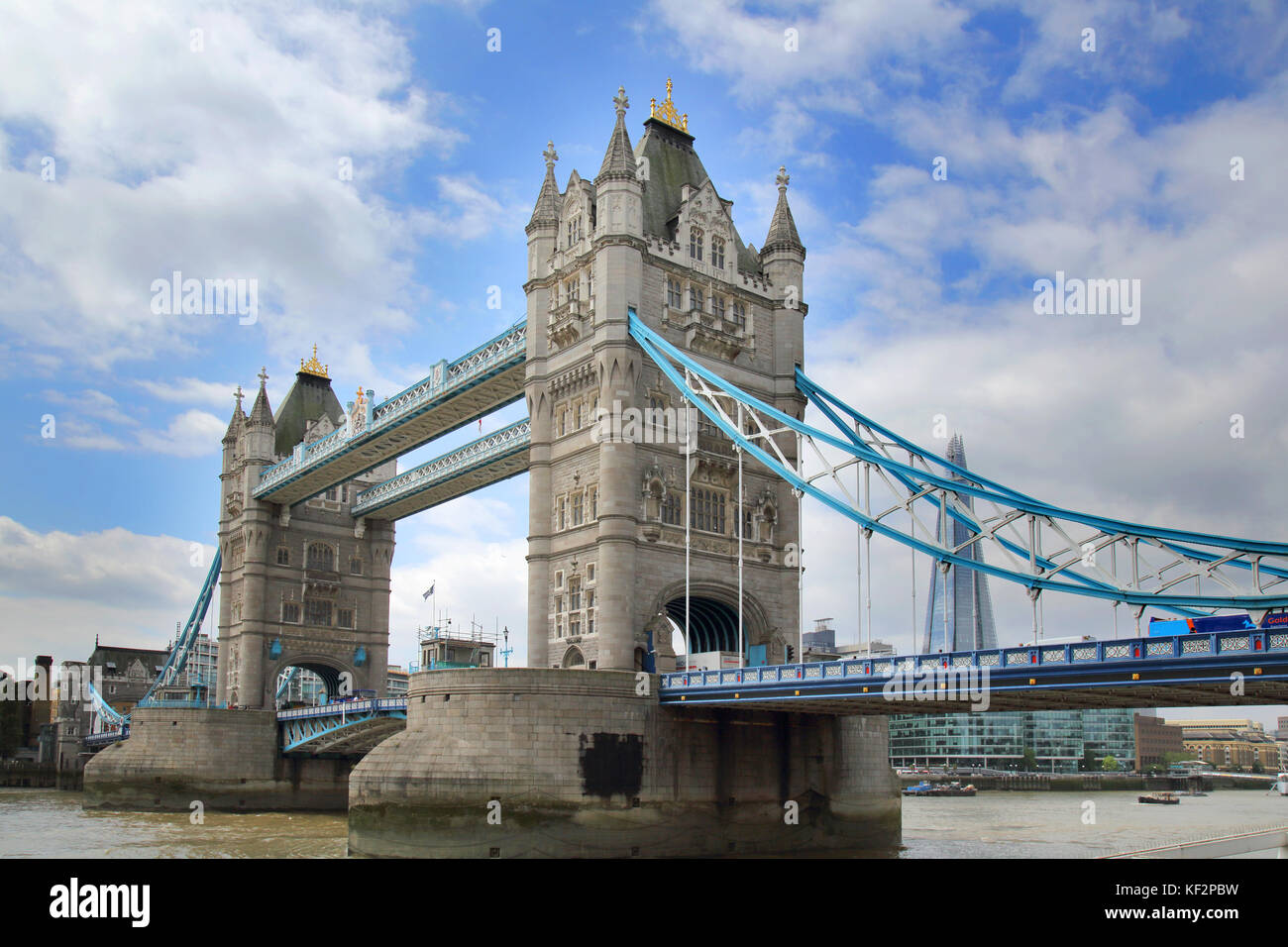 the historic tower bridge across the river thames in london - Stock Image