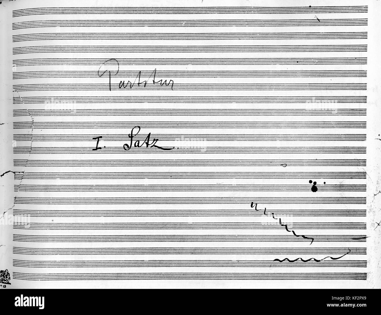 Gustav Mahler  's 9th Symphony score opening page of first movement. Reads Partitur: I Satz (Score I Movement). - Stock Image
