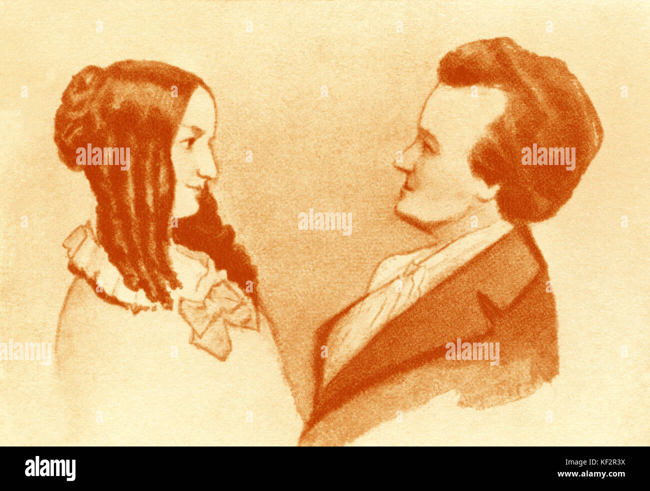 Richard Wagner with Caecilie Geyer, his  stepsister.  CG: 1815- 1893. RW: German composer & author, 22 May 1813 - Stock Image