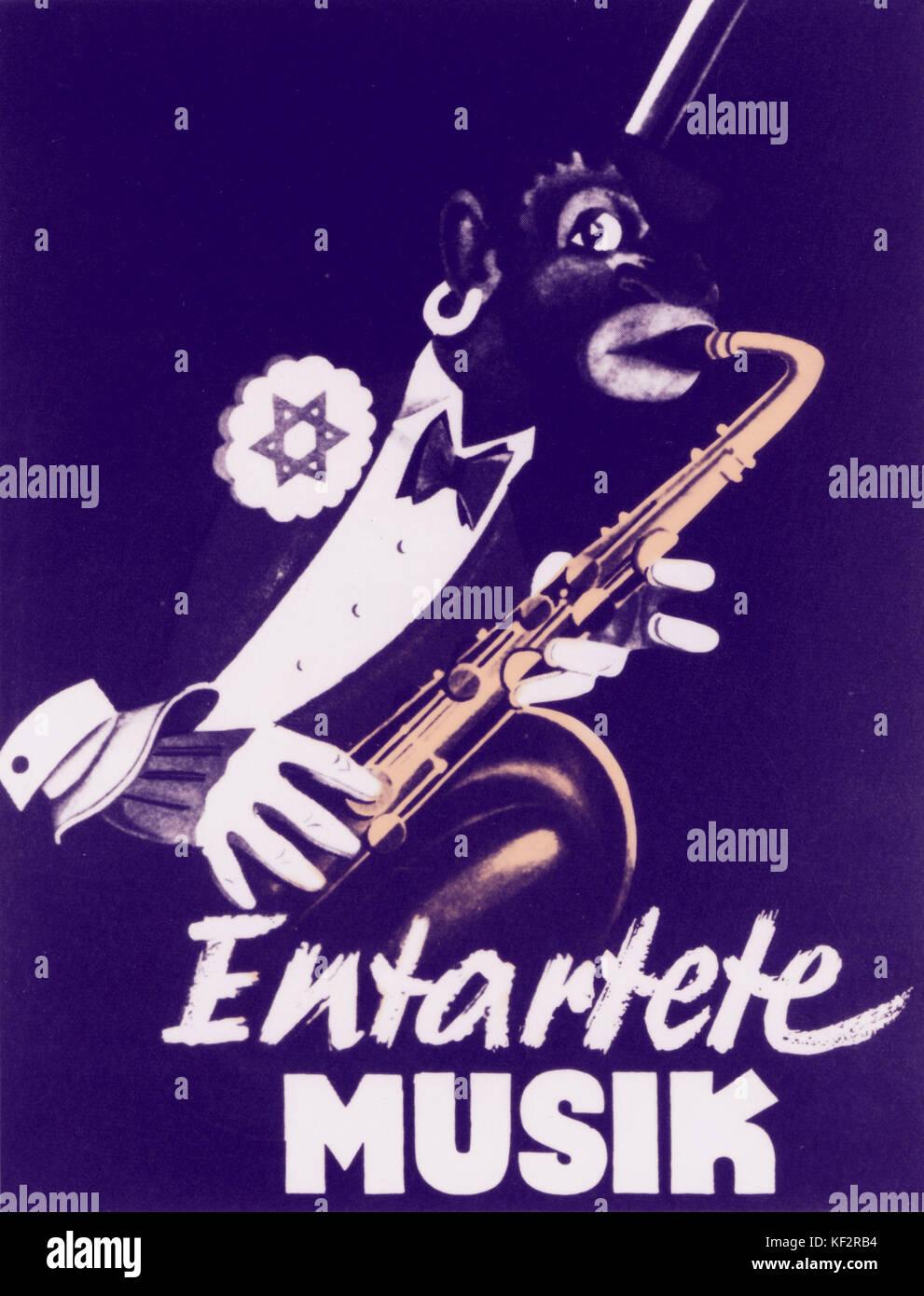 Nazi propaganda poster showing cartoon of black man playing saxophone.  From Dusseldorf Exhibition, 1938. - Stock Image