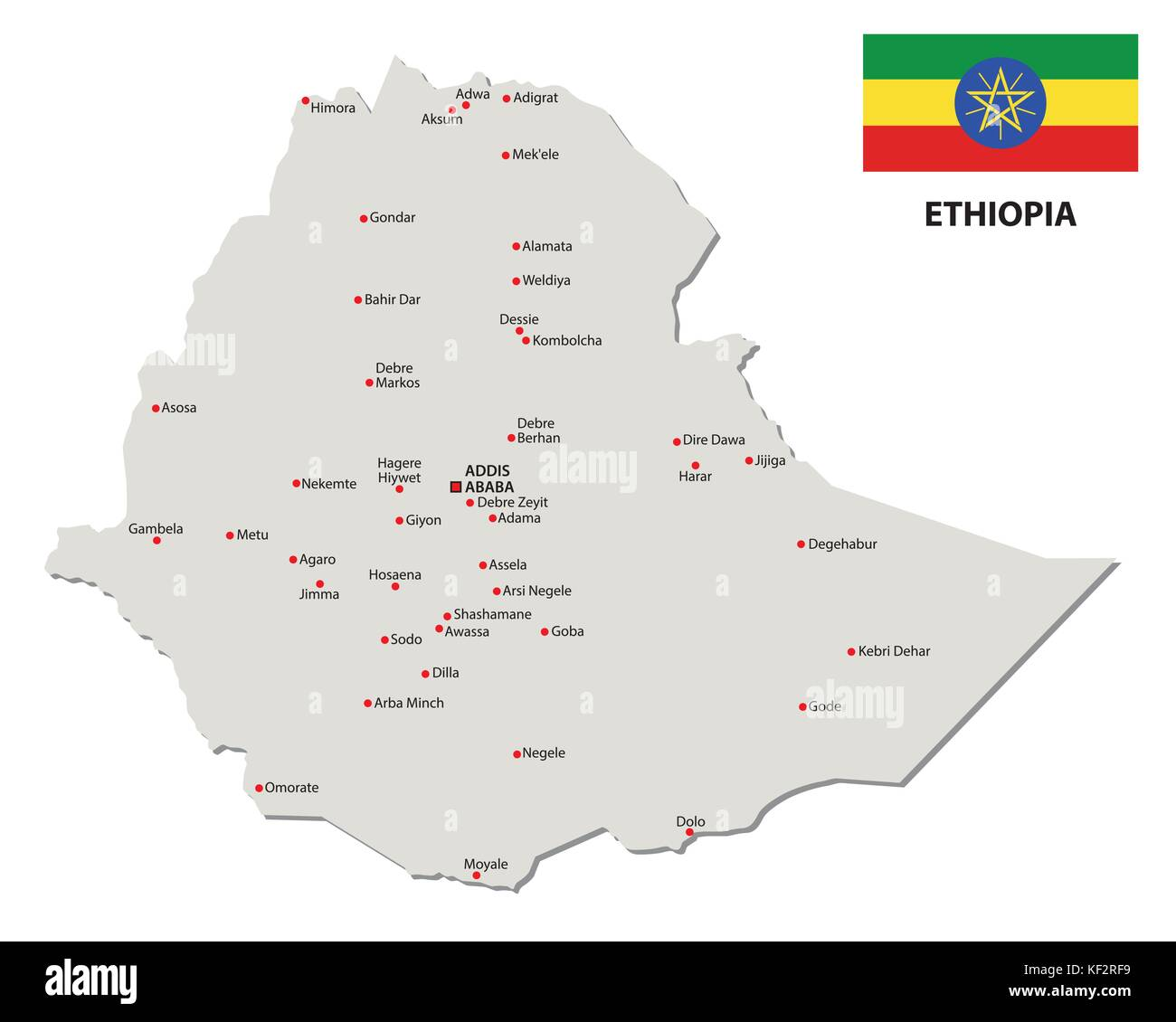 ethiopia map with vector map with flag - Stock Vector