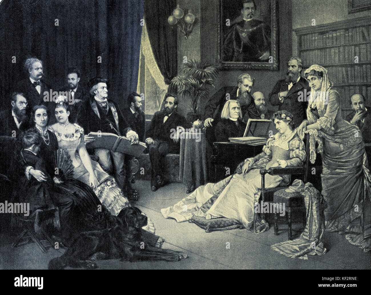 Richard Wagner in Bayreuth with his circle of friends at House Wahnfried.  From left to right: F.V. Lenbach, Siegfried Stock Photo