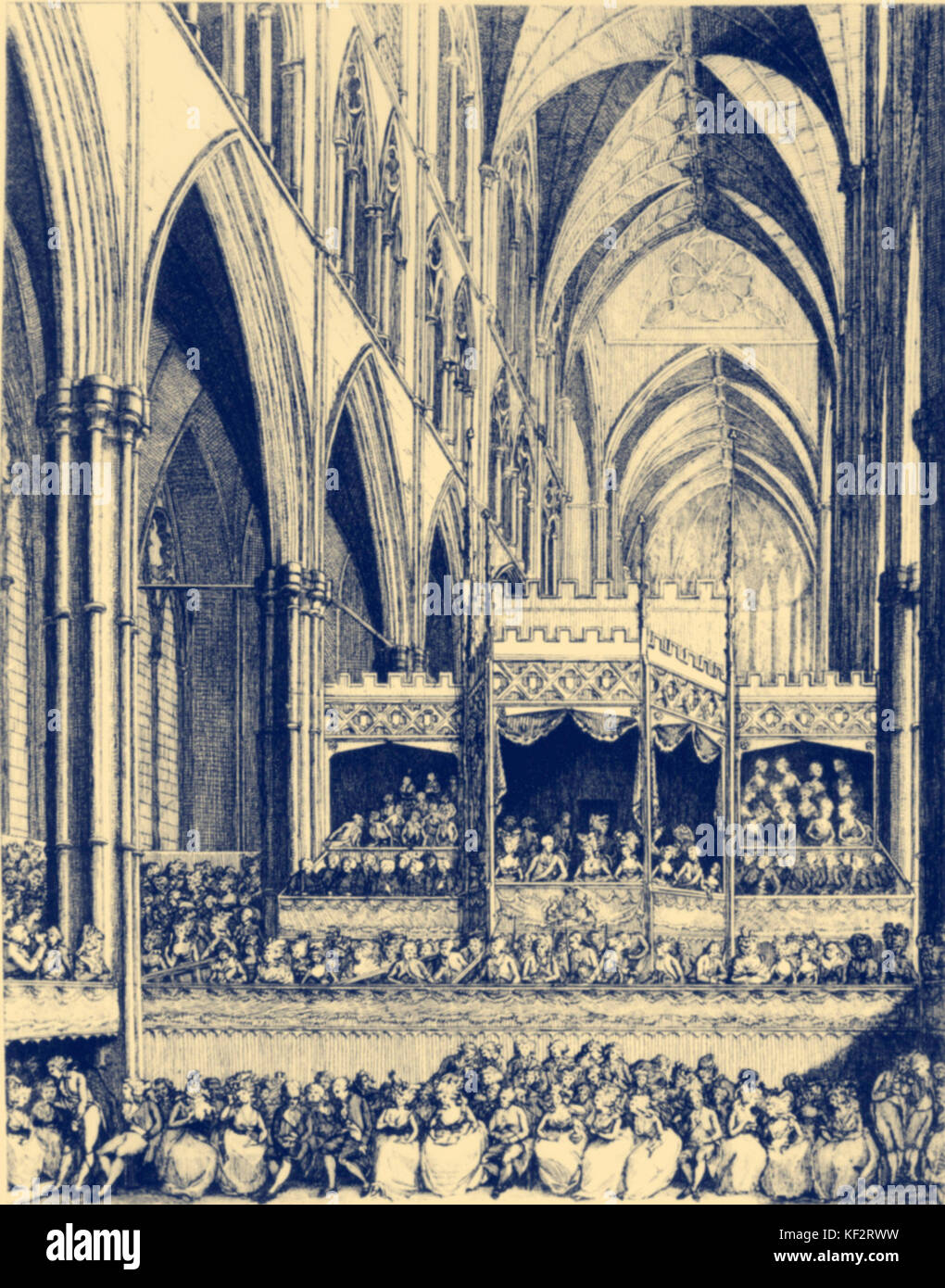 Handel's commemoration  -audience at Westminster Abbey in 1784. German-English composer, 1685-1759. - Stock Image
