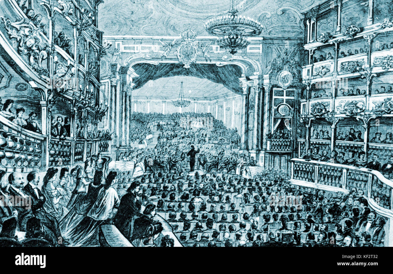 WAGNER conducting Beethoven's 9th Symphony in the Opera House at Bayreuth on 22 May, 1872 German composer & - Stock Image