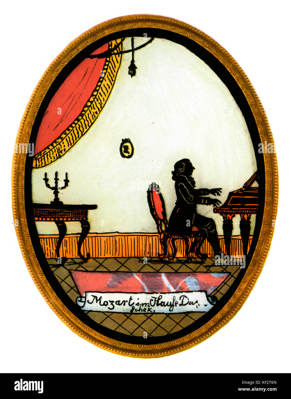 Mozart at the Dušeks' piano. Shadow image from tableau made to commemorate the premiere of Don Giovanni opera - Stock Image