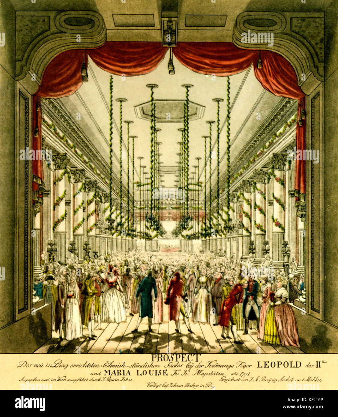 Leopold II 's coronation ball, 1791. Held in building of Nostitz Theatre, Prague, built specifically for purpose Stock Photo