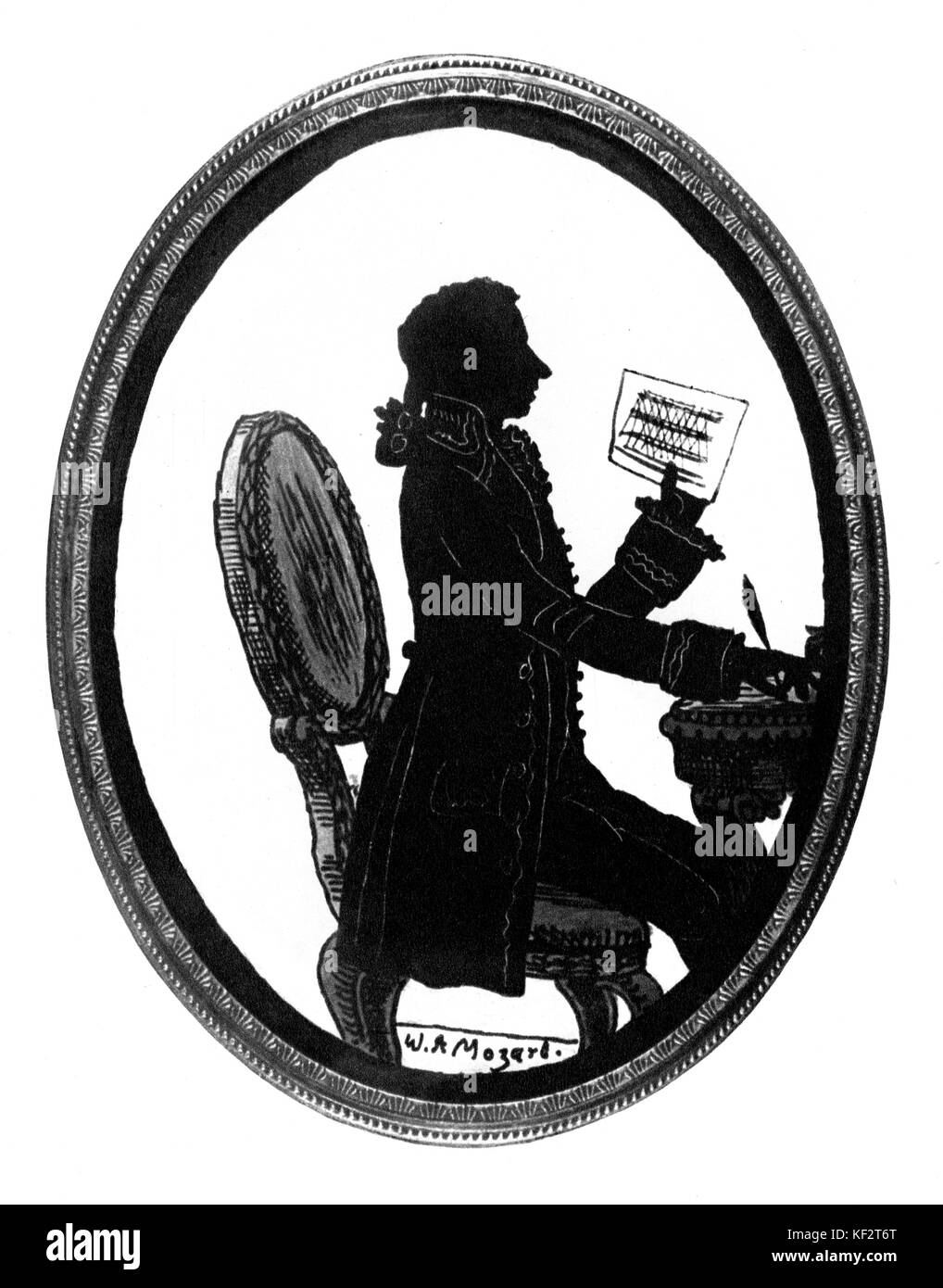 Mozart completing Don Giovanni . Silhouette made to commemorate the premiere of Don Giovanni opera (1787), thought - Stock Image
