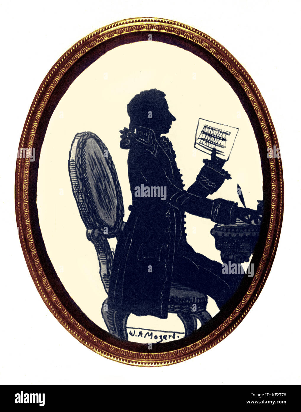 Mozart completing Don Giovanni . From shadow image made to commemorate the premiere of Don Giovanni opera (1787), - Stock Image