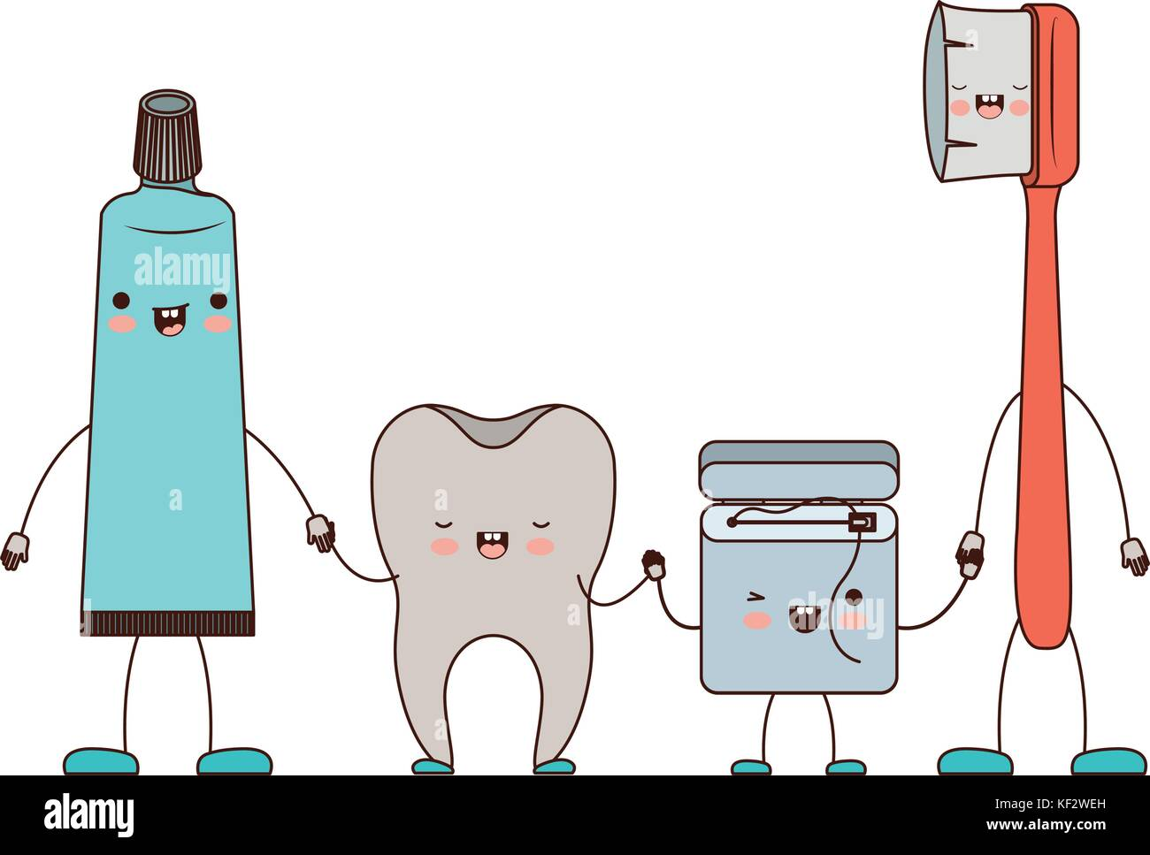 2d9c8ebd4 tooth and toothpaste and dental floss and toothbrush in cartoon holding  hands in colorful silhouette
