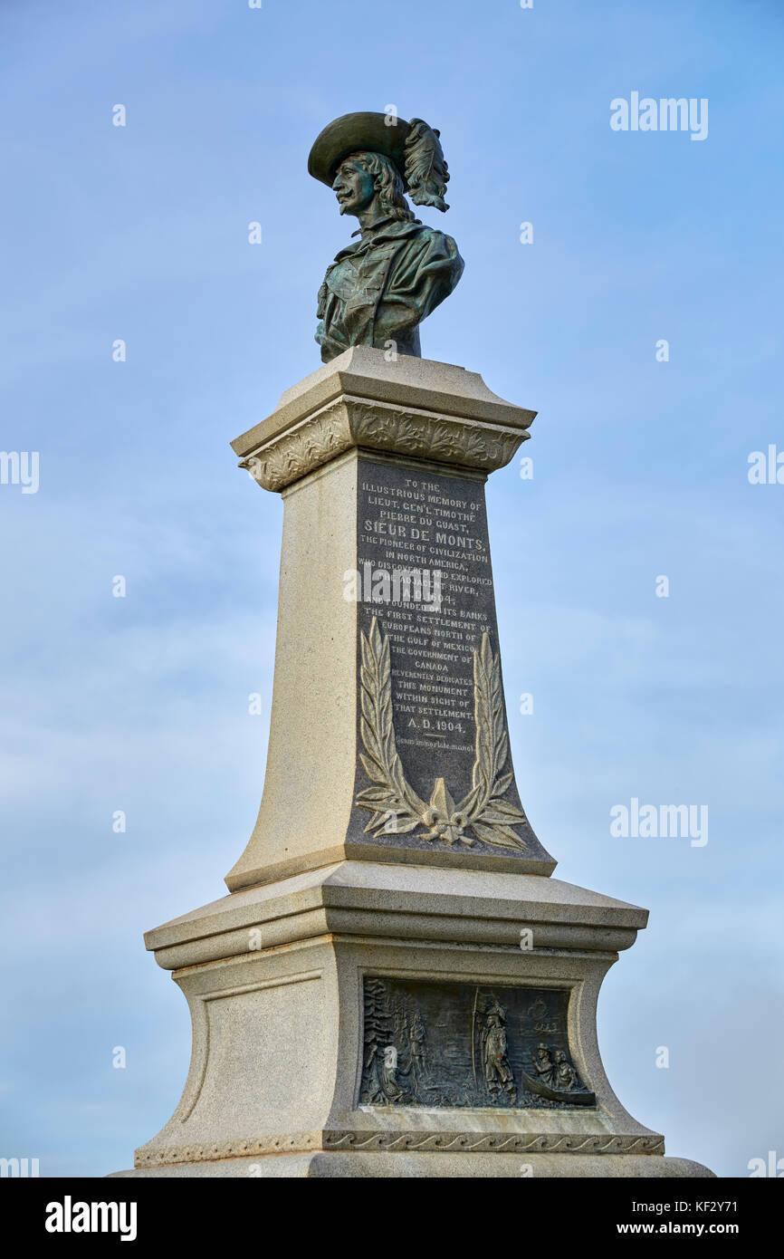 Pierre Dugua Sieur De Mons Monument, Charles Fort National Historic Site, Fort Anne, Annapolis Royal, Nova Scotia, - Stock Image