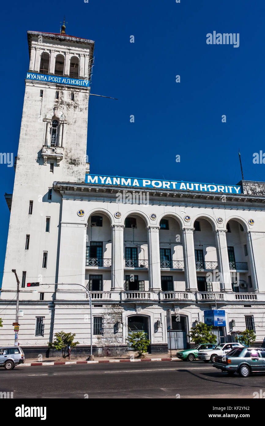 The office building of the Myanmar Port Authority, Yangon - Stock Image