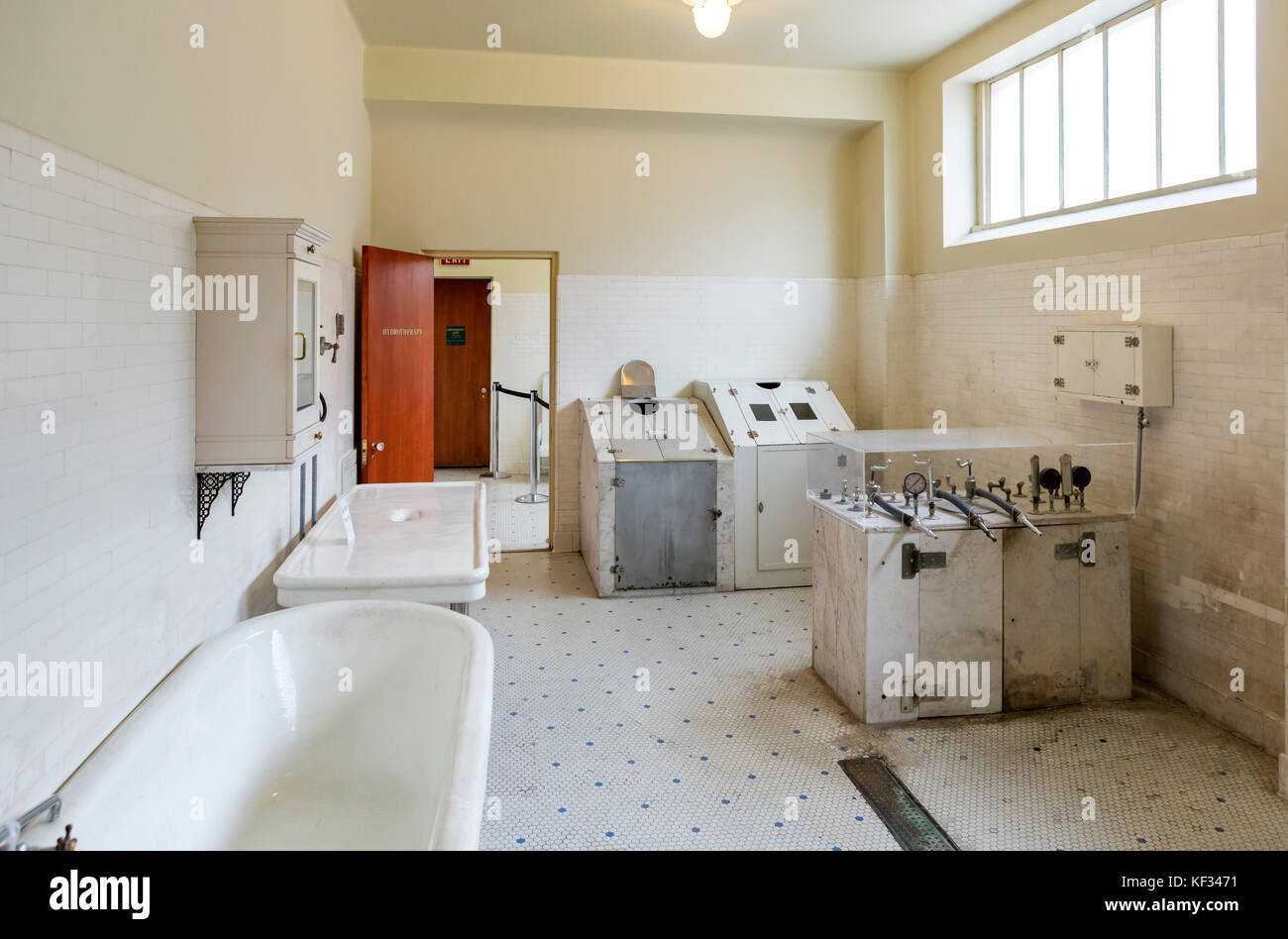 Hydrotherapy Room in the historic Fordyce Bath House,  Central Avenue ('Bathhouse Row'), Hot Springs, Arkansas, - Stock Image