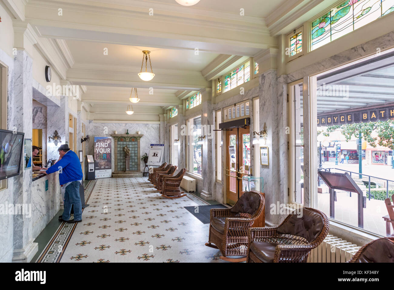 Lobby of the historic Fordyce Bath House, now the visitor center, Central Avenue ('Bathhouse Row'), Hot - Stock Image