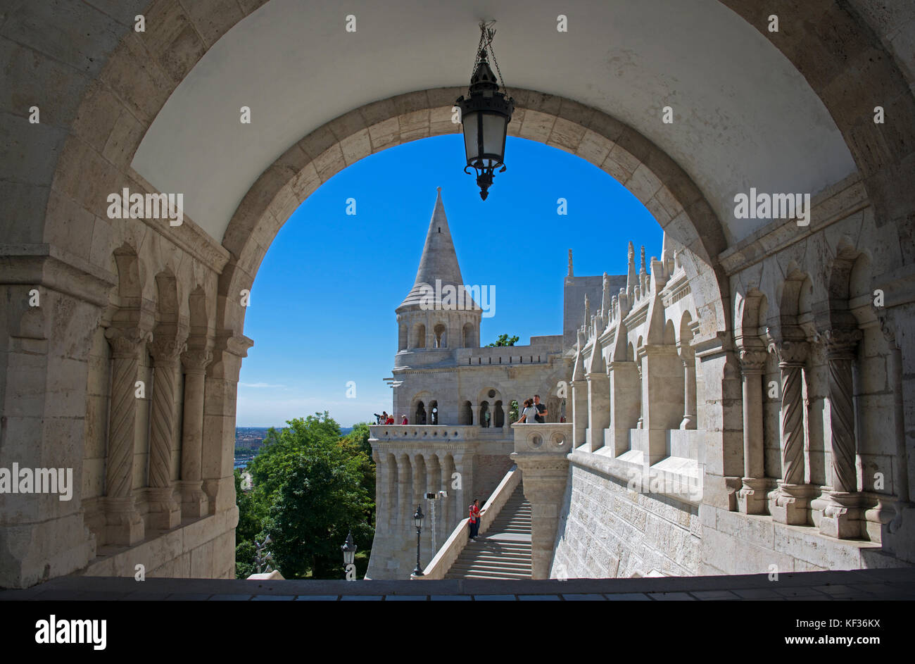 Fisherman's Bastion and turret though arch Castle District Upper Buda Budapest Hungary - Stock Image