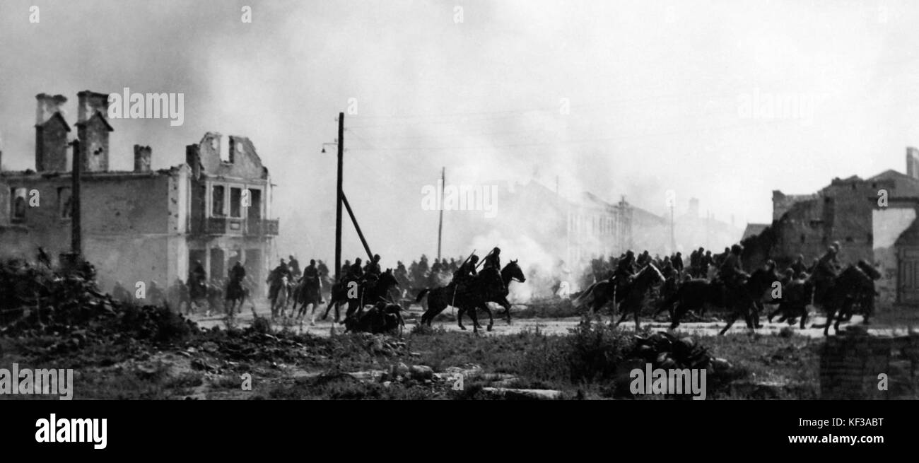 Polish cavalry in Sochaczew 1939 - Stock Image