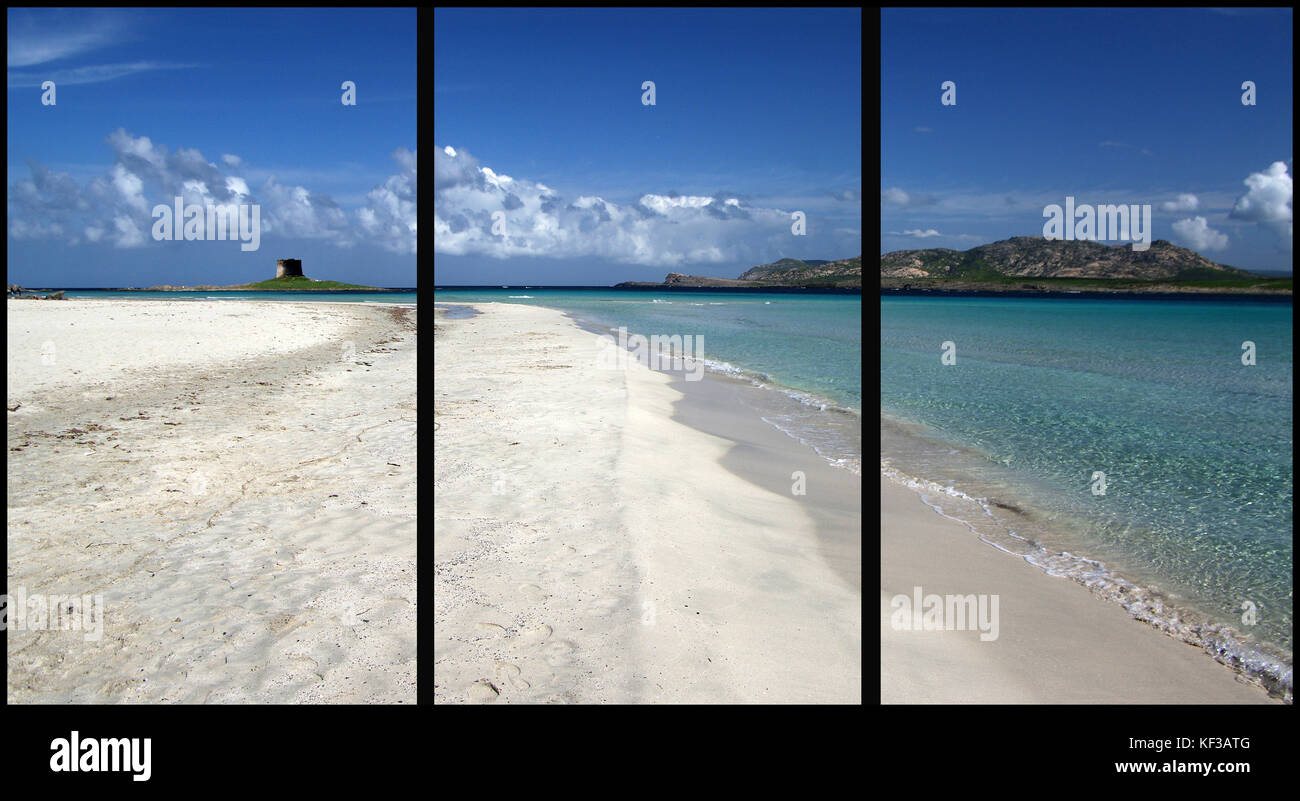 Stintino, Sardinia. La Pelosa Beach (Triptych: picture molded into three fields for the printing of decorative panels) - Stock Image