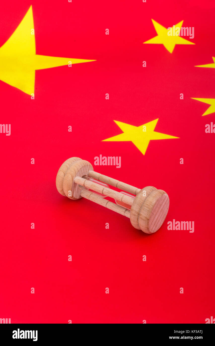 Chinese flag with small egg timer - metaphor for Chinese