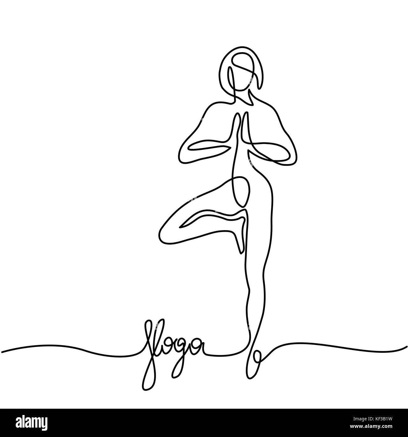 Woman doing exercise in yoga pose - Stock Vector