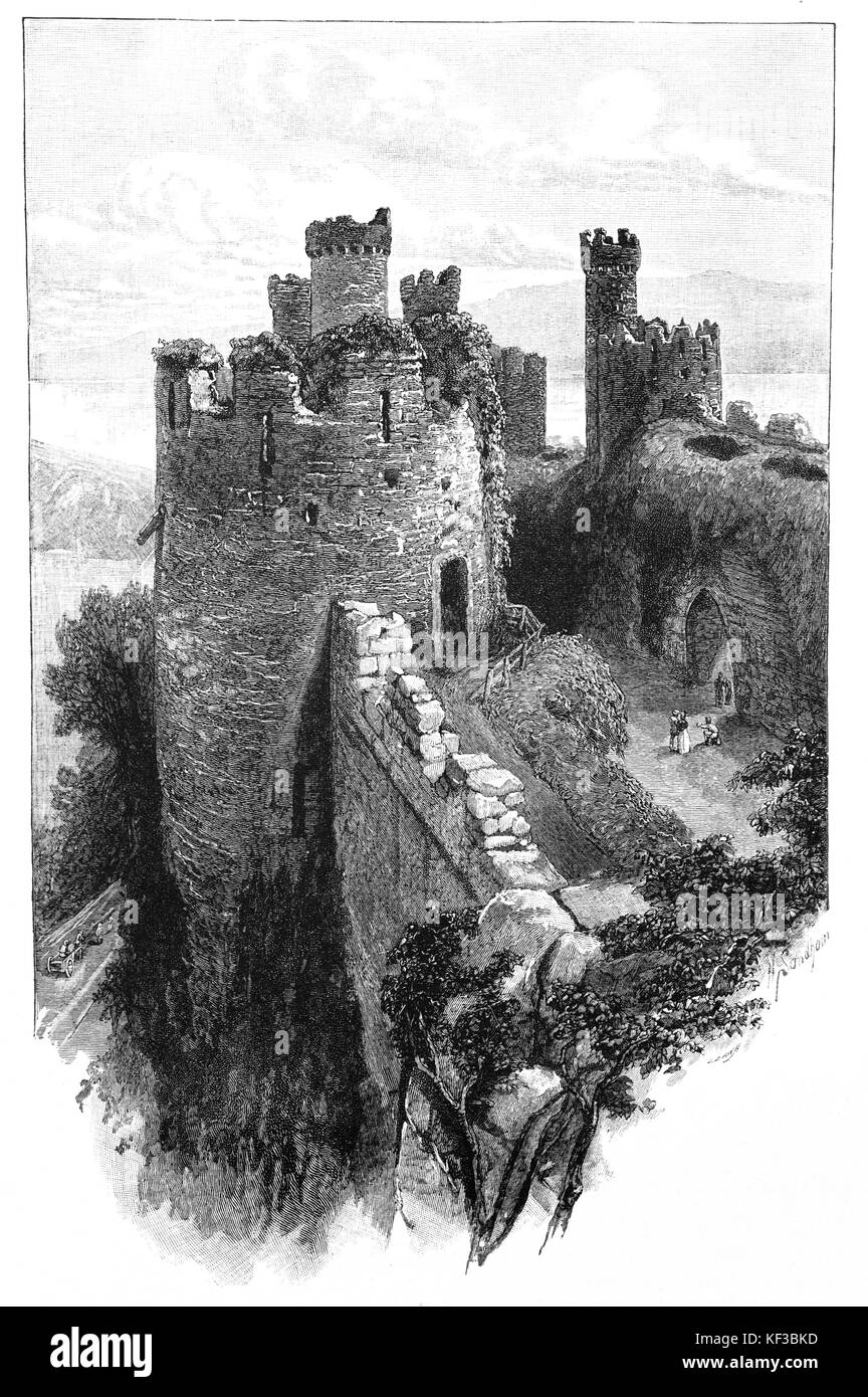 1890: Conwy Castle, a medieval fortification in Conwy, on the north coast of Wales. It was built by Edward I, during - Stock Image