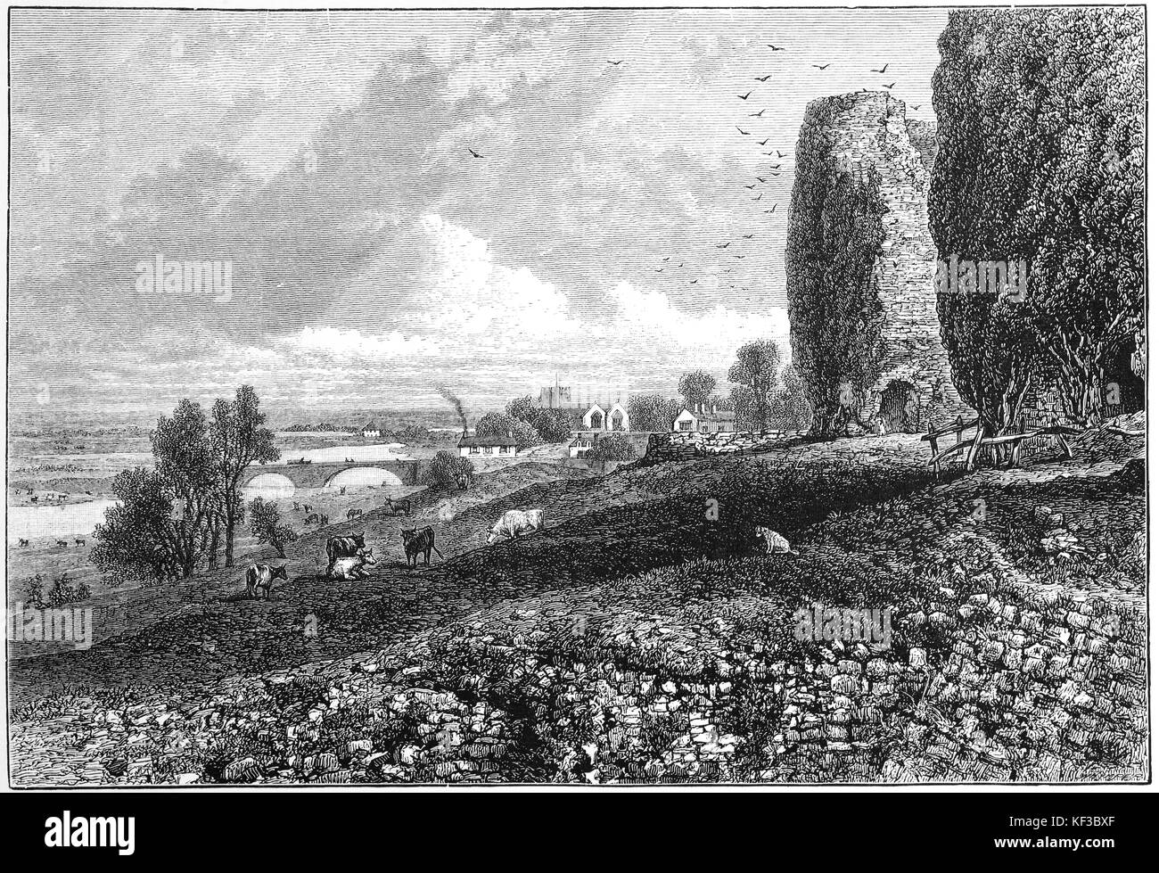 1890: Rhuddlan Castle is located above the River Clwyd in Rhuddlan, Denbighshire, Wales. It was erected by Edward - Stock Image