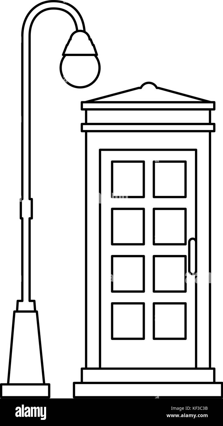 phone booth with park lantern vector illustration design - Stock Image