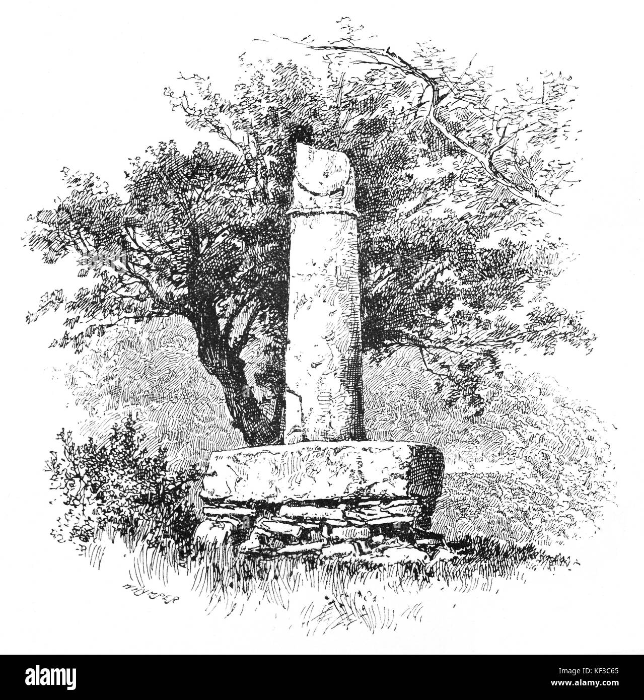 1890: The Pillar of Eliseg — also known as Elise's Pillar or Croes Elisedd  — stands near Valle Crucis Abbey, - Stock Image