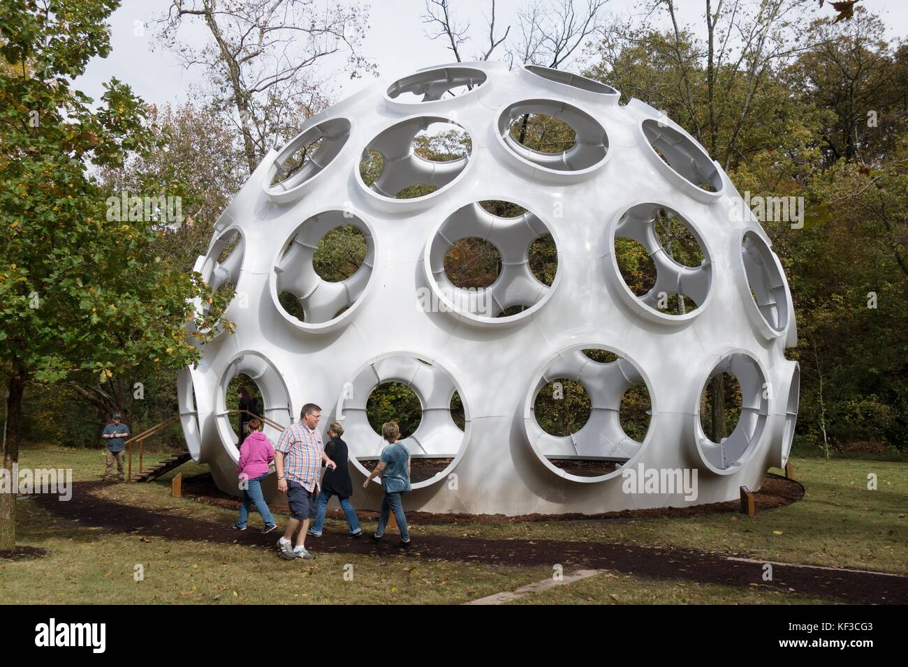 The Fly's Eye Dome, designed by Buckminster Fuller, at Crystal Bridges art museum in Bentonville, Arkansas, - Stock Image