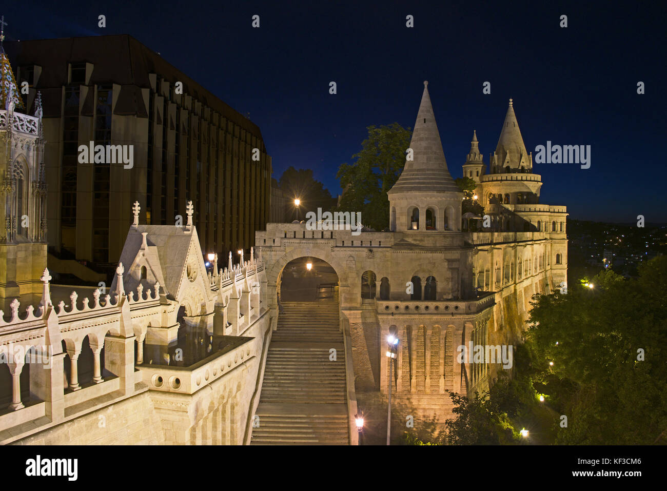 Fisherman's Bastion at night Castle District Upper Buda Budapest Hungary - Stock Image
