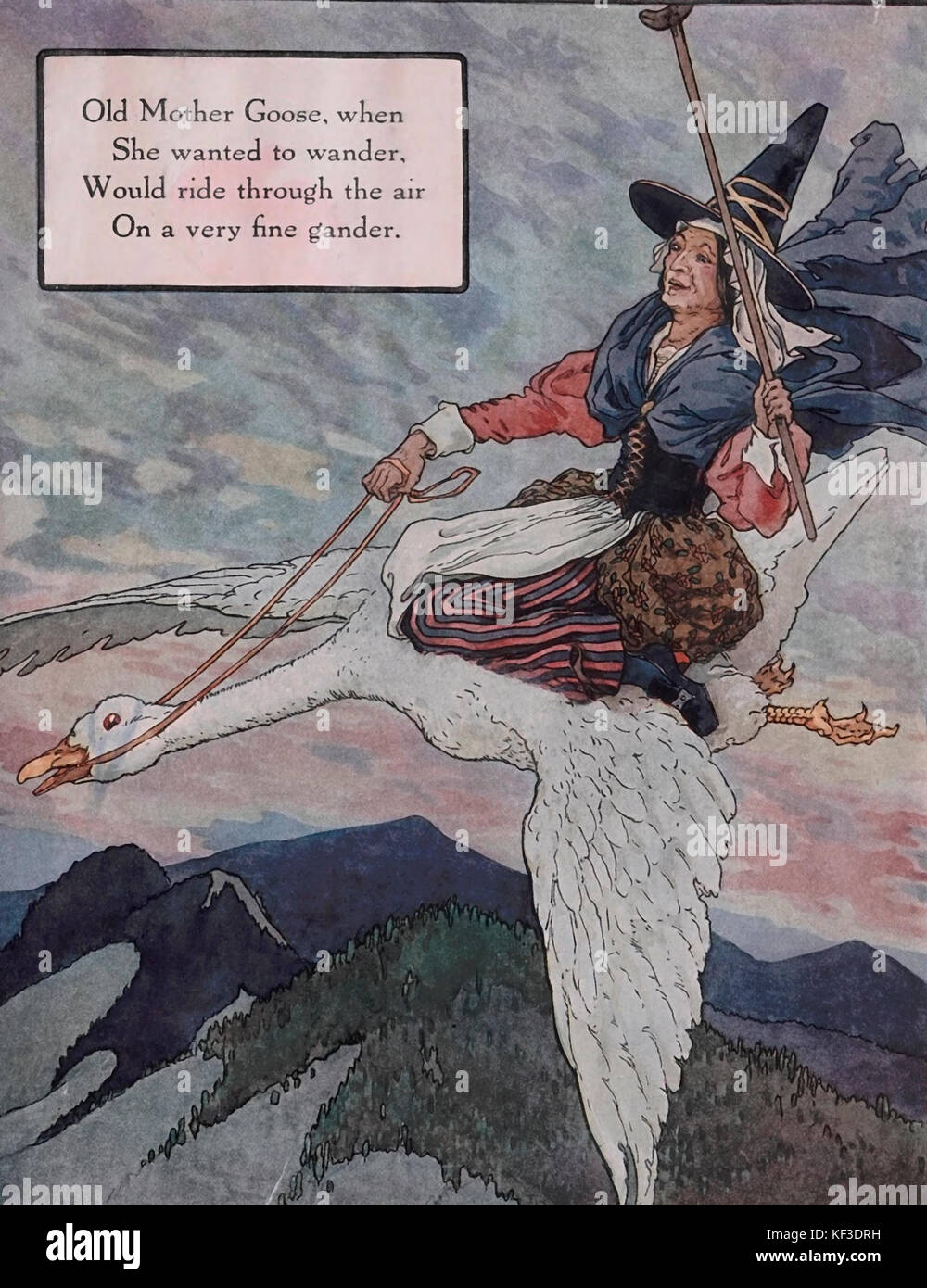 Old Mother Goose, when she wanted to wander, would ride through the air on a very fine gander - Mother Goose Nursery - Stock Image