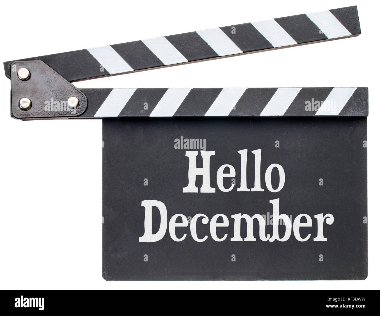 Hello December movie title in white chalk on clapboard isolated on white - Stock Image