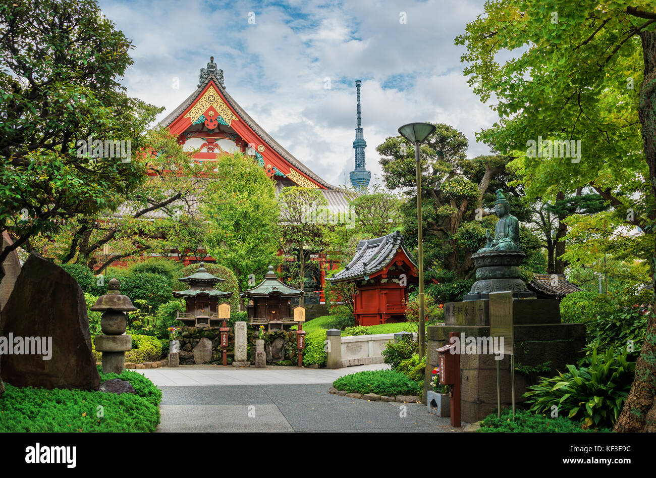 Tradition and Modernity in Japan. View of Asakusa old Buddhist Temple, shrines with the modern Skytree Tower in - Stock Image