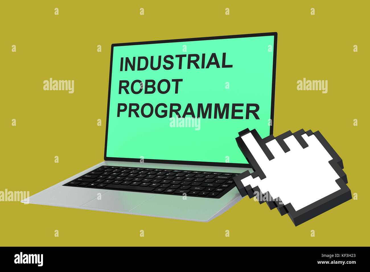 3D illustration of 'INDUSTRIAL ROBOT PROGRAMMER' script with pointing hand icon pointing at the laptop screen - Stock Image