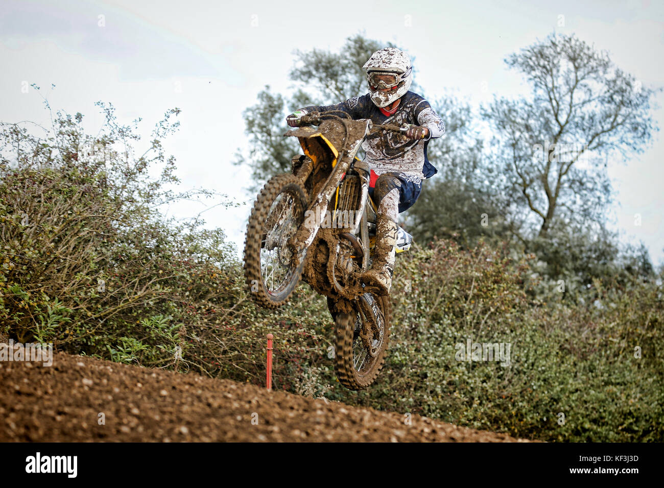 Yamaha YZ250f at Washbrook Farm Motocross Chippenham Jump Bike Yamaha MX Bike - Stock Image