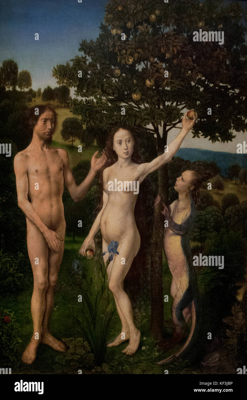 Hugo van der Goes (1440-1482). The Vienna Diptych or Fall and Redemption of Man. Oil on oak, 1467-1468.  Kunsthistorisches - Stock Image