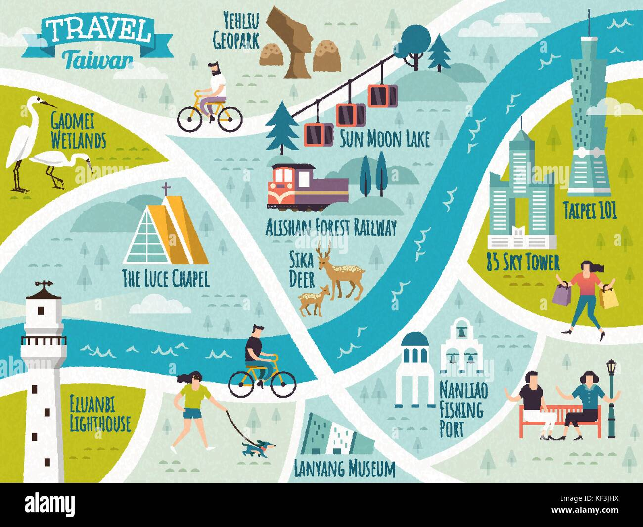 Taiwan travel map lovely travel route of famous landmark Stock