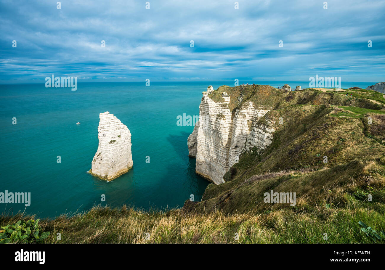 White cliffs of Etretat and the Alabaster Coast, Normandy, France - Stock Image