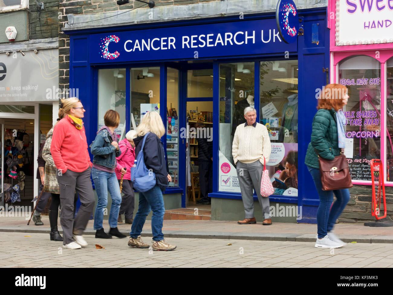 Cancer Research UK charity shop store Keswick Cumbria England UK United Kingdom GB Great Britain - Stock Image