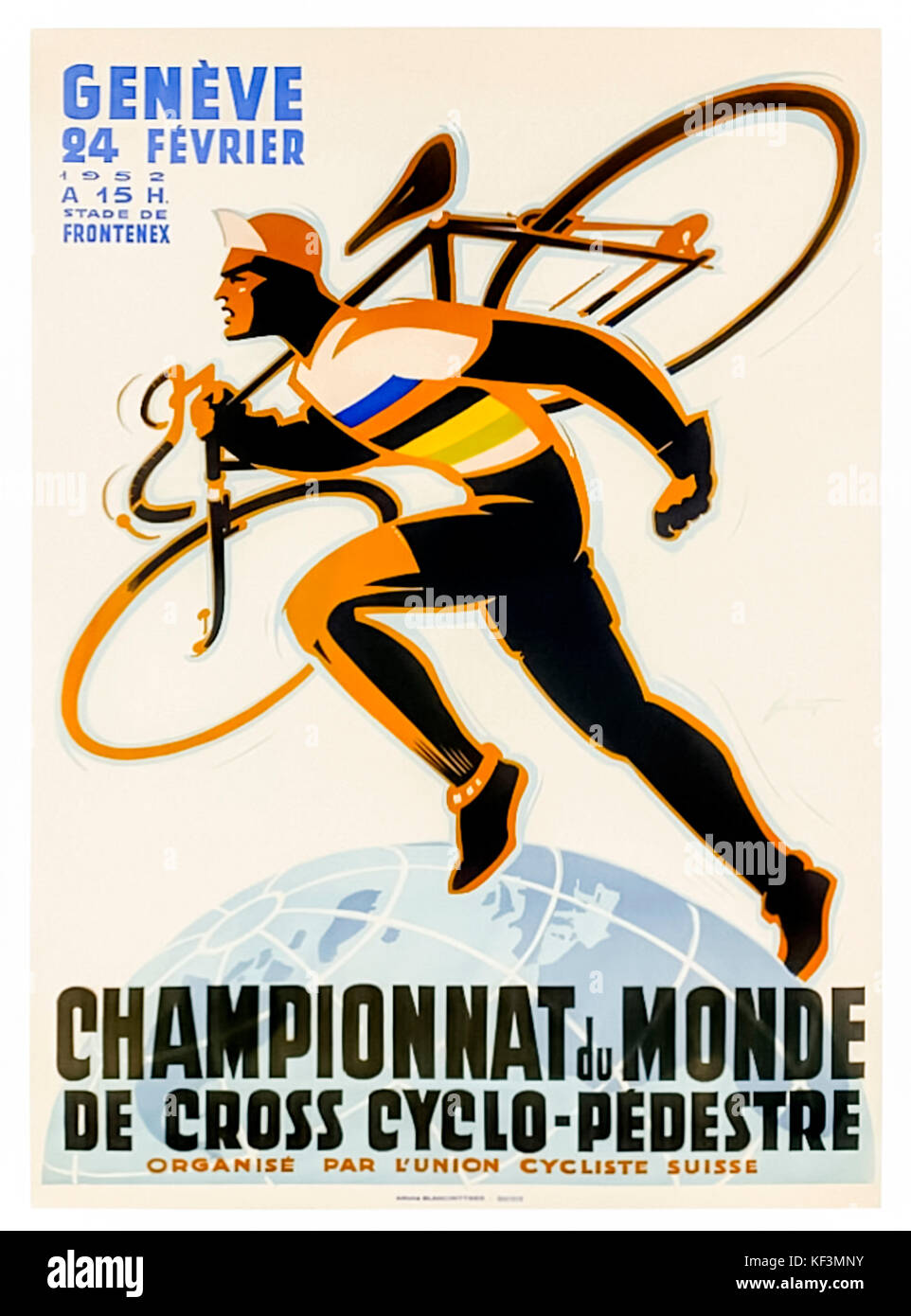 Poster for the Cyclo-cross World Championships 1952 held by L'Union cycliste internationale (UCI) on 24 February - Stock Image