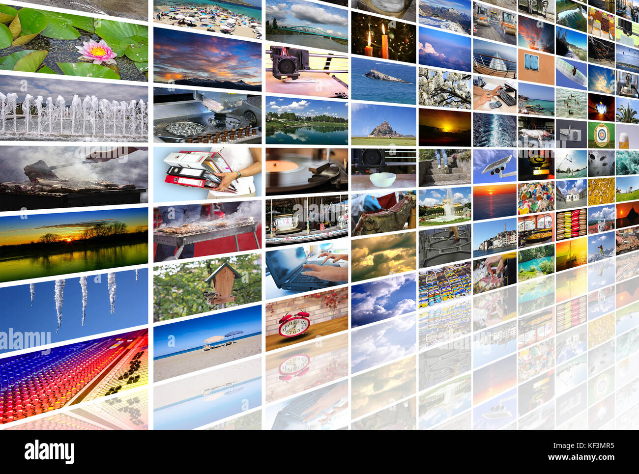 Big multimedia video and image wall of the TV screen - Stock Image