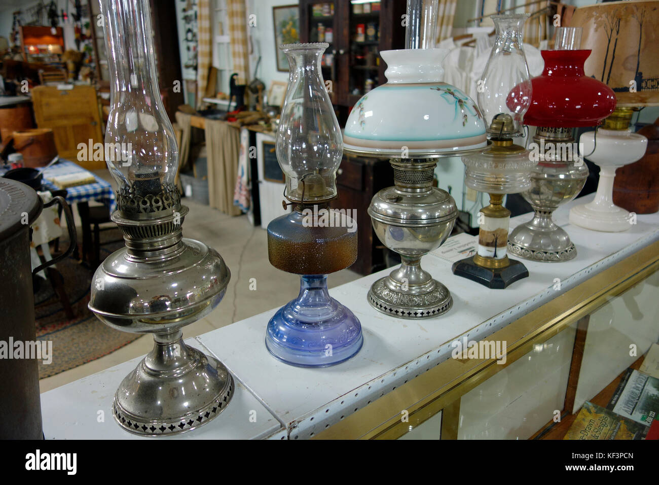 Old antique kerosene paraffin oil lamps - Stock Image