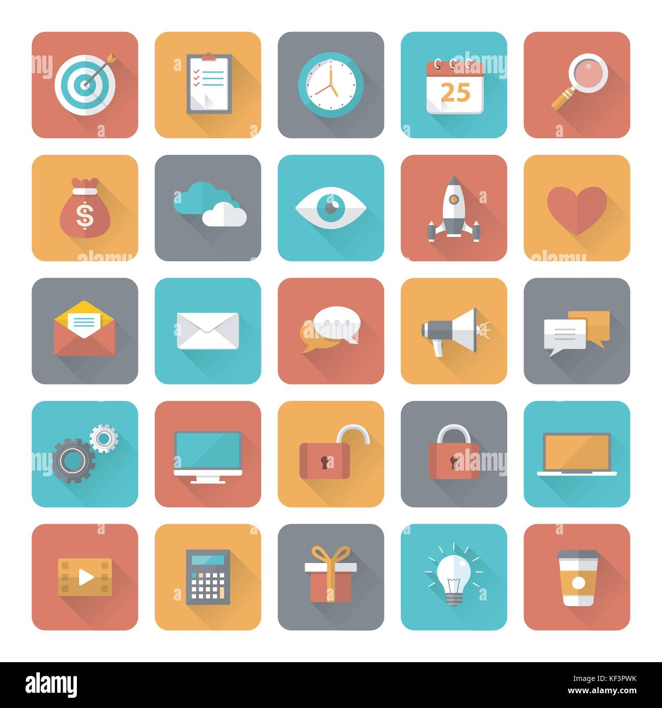 Set of 25 flat office, business, media and web design icons with long shadow effect. Vector illustration eps10 - Stock Image