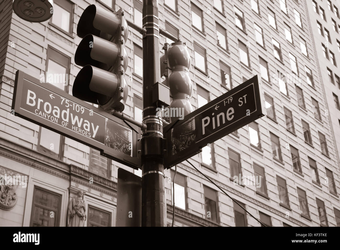 Broadway meets Pine Street, New York - Stock Image