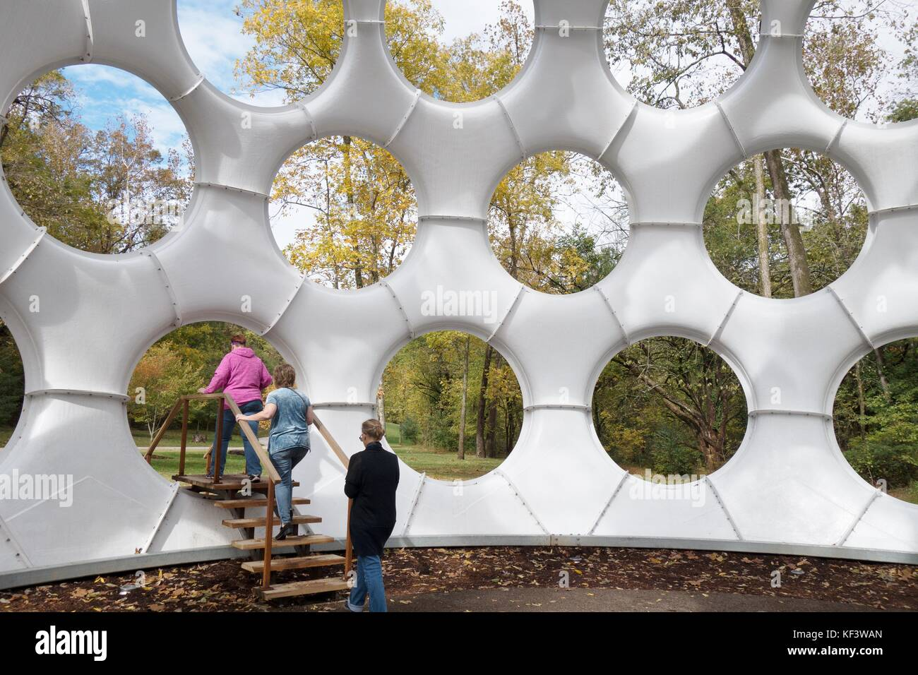 People walking out of The Fly's Eye Dome, designed by Buckminster Fuller, at Crystal Bridges art museum in Bentonville, - Stock Image