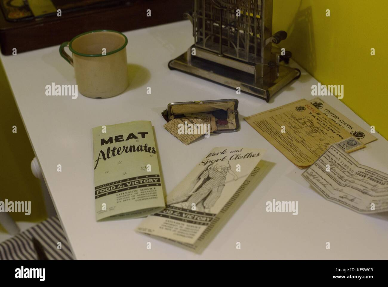 A display of World War 2 brochures and ration books at the Shiloh Museum of Ozark History in Springdale, Arkansas, - Stock Image
