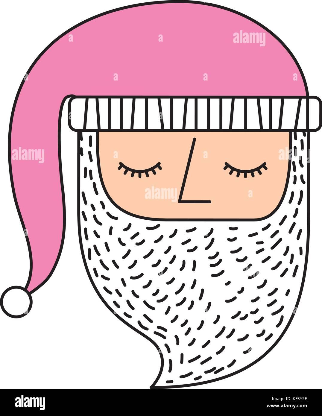 christmas santa claus face pink hat ornament - Stock Vector