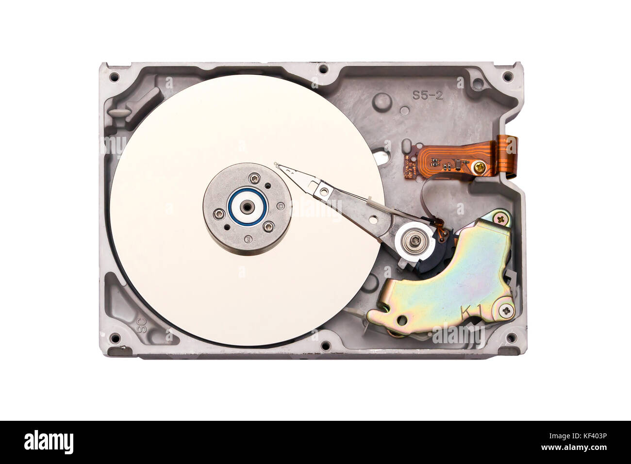 Hdd isolated on white background. Computer chips. Inside of internal Harddrive - Stock Image