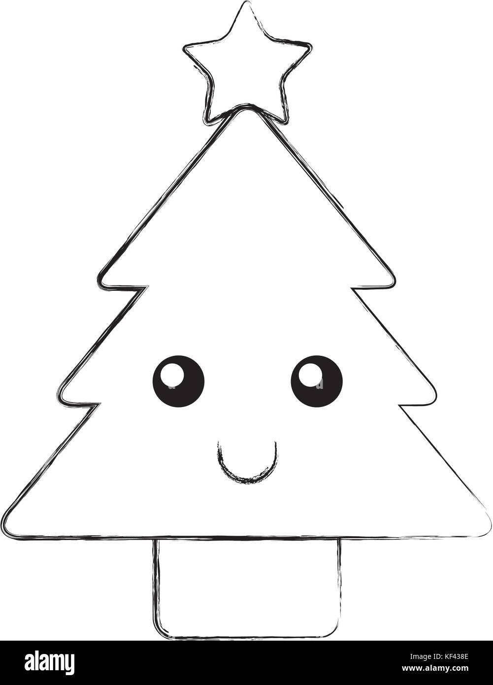 Pine Tree Cartoon Black And White Stock Photos Images Alamy